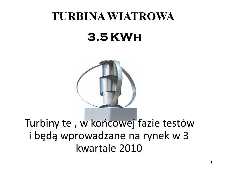 5 TURBINA WIATROWA 3.5 KWh Turbiny te, w końcowej fazie testów i będą wprowadzane na rynek w 3 kwartale 2010
