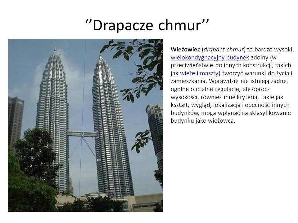 Drapacze chmur Wieżowiec (drapacz chmur) to bardzo wysoki, wielokondygnacyjny budynek zdolny (w przeciwieństwie do innych konstrukcji, takich jak wież