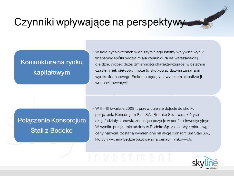 Czynniki wpływające na perspektywy W kolejnych okresach w dalszym ciągu istotny wpływ na wynik finansowy spółki będzie miała koniunktura na warszawskiej giełdzie.