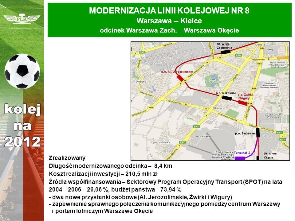 MODERNIZACJA LINII KOLEJOWEJ NR 8 Warszawa – Kielce odcinek Warszawa Zach. – Warszawa Okęcie Zrealizowany Długość modernizowanego odcinka – 8,4 km Kos