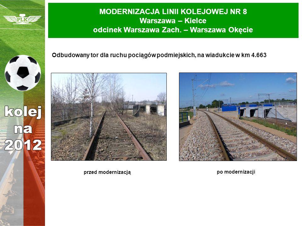 MODERNIZACJA LINII KOLEJOWEJ NR 8 Warszawa – Kielce odcinek Warszawa Zach. – Warszawa Okęcie Odbudowany tor dla ruchu pociągów podmiejskich, na wiaduk