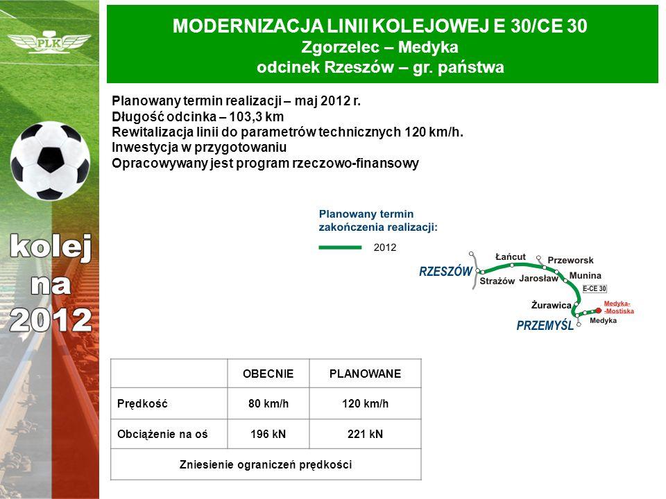 Planowany termin realizacji – maj 2012 r. Długość odcinka – 103,3 km Rewitalizacja linii do parametrów technicznych 120 km/h. Inwestycja w przygotowan