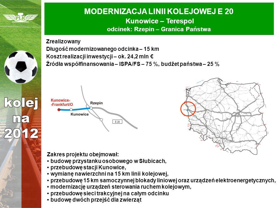MODERNIZACJA LINII KOLEJOWEJ E 20 Kunowice – Terespol odcinek: Rzepin – Granica Państwa Zrealizowany Długość modernizowanego odcinka – 15 km Koszt rea