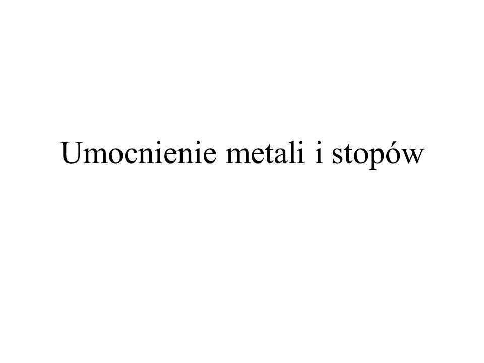 Umacnianie metali - wprowadzenie Teoretyczna wytrzymałość monokryształów czystych metali ( G/30) jest o kilka rzędów wielkości większa niż wyznaczona doświadczalnie dla rzeczywistych monokryształów (od 10 -4 do 10 -8 G) – powód – obecność dyslokacji.