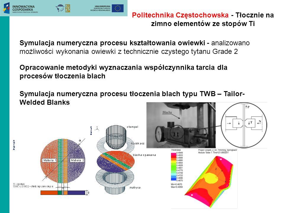 Politechnika Częstochowska - Tłocznie na zimno elementów ze stopów Ti Symulacja numeryczna procesu kształtowania owiewki - analizowano możliwości wyko