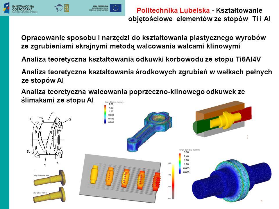 Politechnika Lubelska - Kształtowanie objętościowe elementów ze stopów Ti i Al Opracowanie sposobu i narzędzi do kształtowania plastycznego wyrobów ze