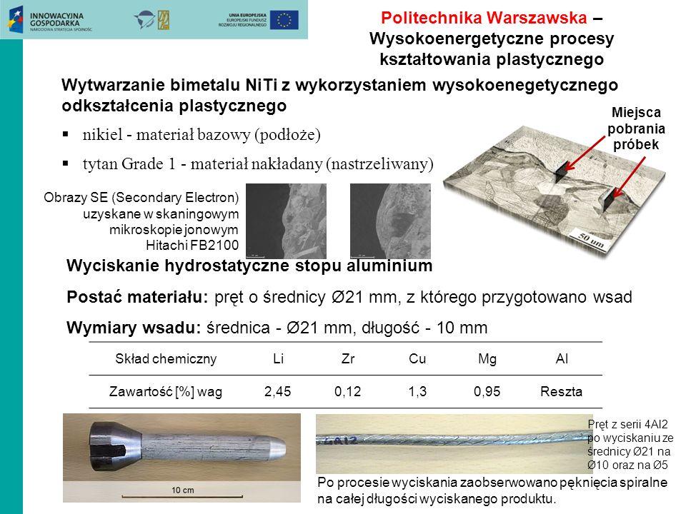 Politechnika Warszawska – Wysokoenergetyczne procesy kształtowania plastycznego Wytwarzanie bimetalu NiTi z wykorzystaniem wysokoenegetycznego odkszta