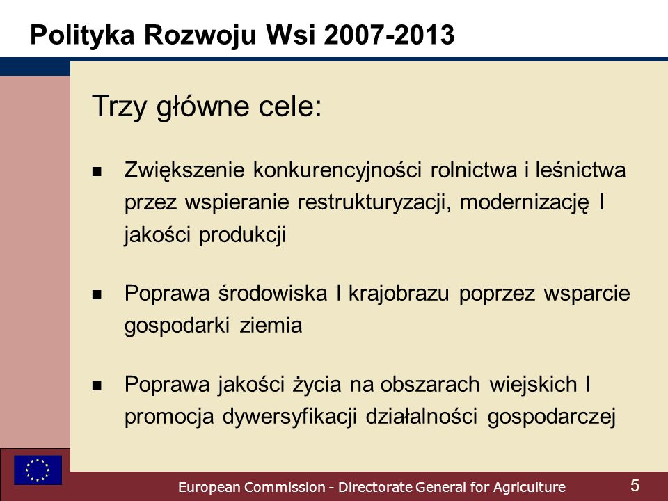 European Commission - Directorate General for Agriculture Polityka Rozwoju Wsi 2007-2013 Trzy główne cele: n Zwiększenie konkurencyjności rolnictwa i leśnictwa przez wspieranie restrukturyzacji, modernizację I jakości produkcji n Poprawa środowiska I krajobrazu poprzez wsparcie gospodarki ziemia n Poprawa jakości życia na obszarach wiejskich I promocja dywersyfikacji działalności gospodarczej 5