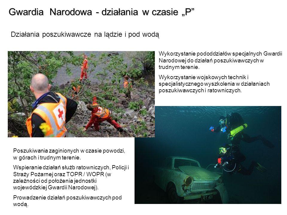 Gwardia Narodowa - działania w czasie P Działania poszukiwawcze na lądzie i pod wodą Wykorzystanie pododdziałów specjalnych Gwardii Narodowej do dział