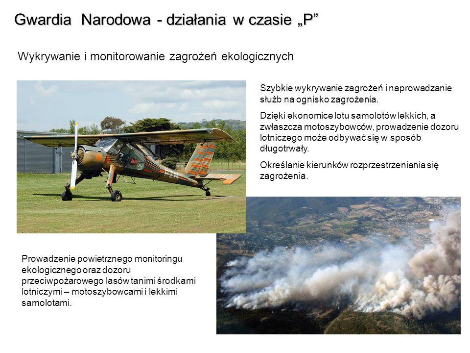 Gwardia Narodowa - działania w czasie P Wykrywanie i monitorowanie zagrożeń ekologicznych Szybkie wykrywanie zagrożeń i naprowadzanie służb na ognisko