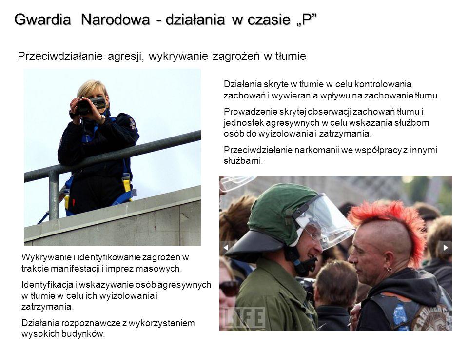 Gwardia Narodowa - działania w czasie P Przeciwdziałanie agresji, wykrywanie zagrożeń w tłumie Działania skryte w tłumie w celu kontrolowania zachowań