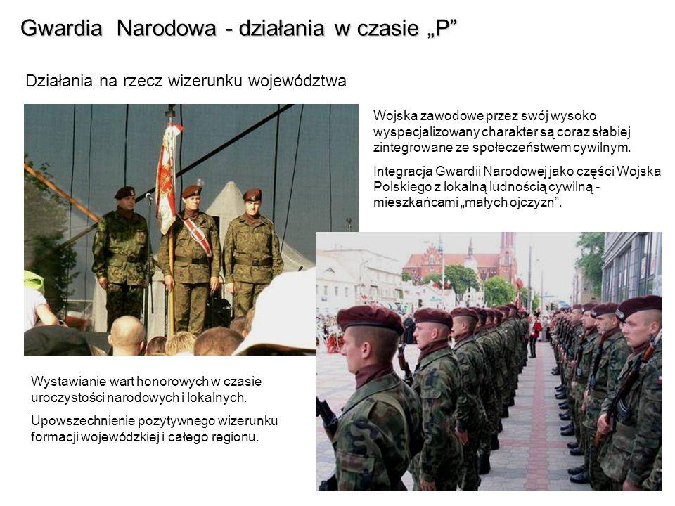 Gwardia Narodowa - działania w czasie P Działania na rzecz wizerunku województwa Wojska zawodowe przez swój wysoko wyspecjalizowany charakter są coraz