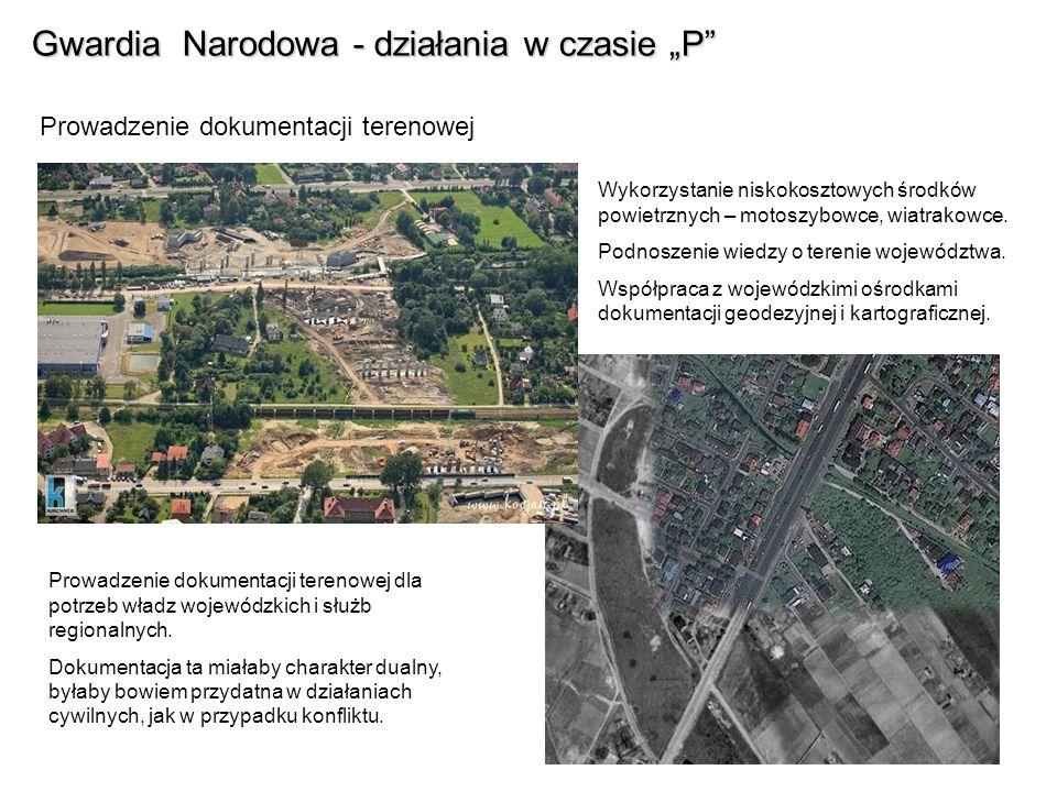 Gwardia Narodowa - działania w czasie P Prowadzenie dokumentacji terenowej Wykorzystanie niskokosztowych środków powietrznych – motoszybowce, wiatrako