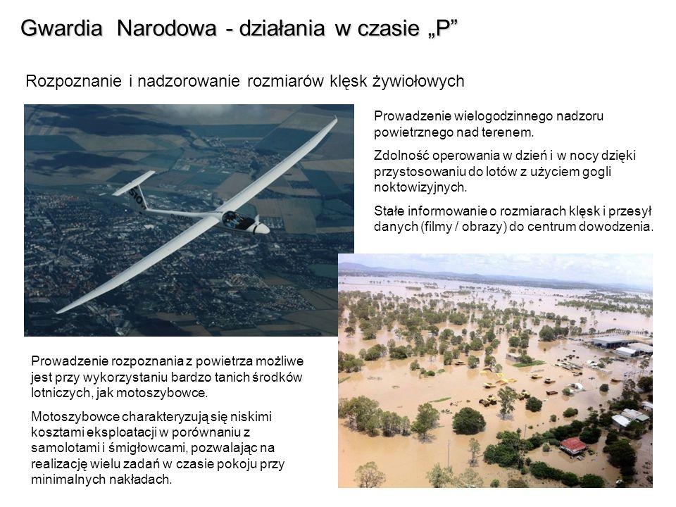Gwardia Narodowa - działania w czasie P Rozpoznanie i nadzorowanie rozmiarów klęsk żywiołowych Prowadzenie wielogodzinnego nadzoru powietrznego nad te