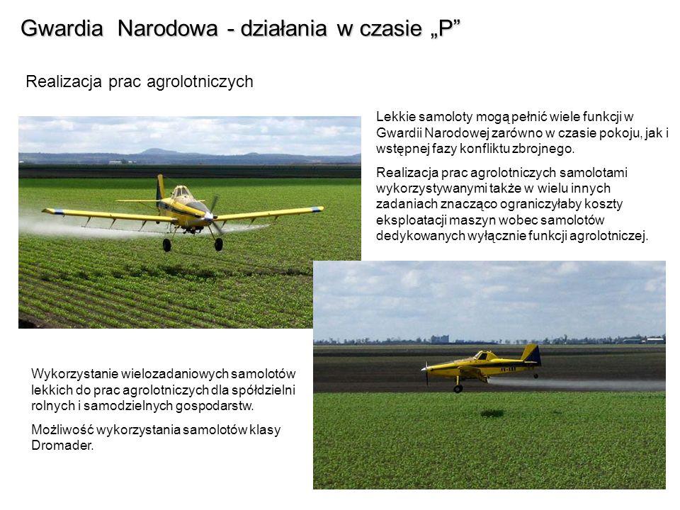 Gwardia Narodowa - działania w czasie P Realizacja prac agrolotniczych Lekkie samoloty mogą pełnić wiele funkcji w Gwardii Narodowej zarówno w czasie