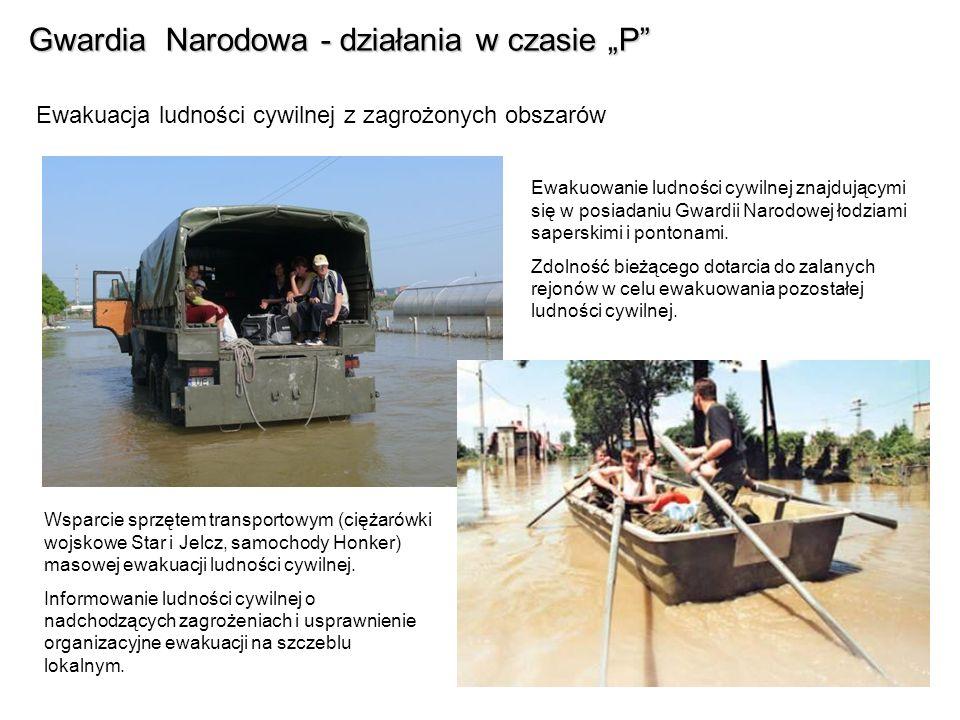 Gwardia Narodowa - działania w czasie P Ewakuacja ludności cywilnej z zagrożonych obszarów Ewakuowanie ludności cywilnej znajdującymi się w posiadaniu