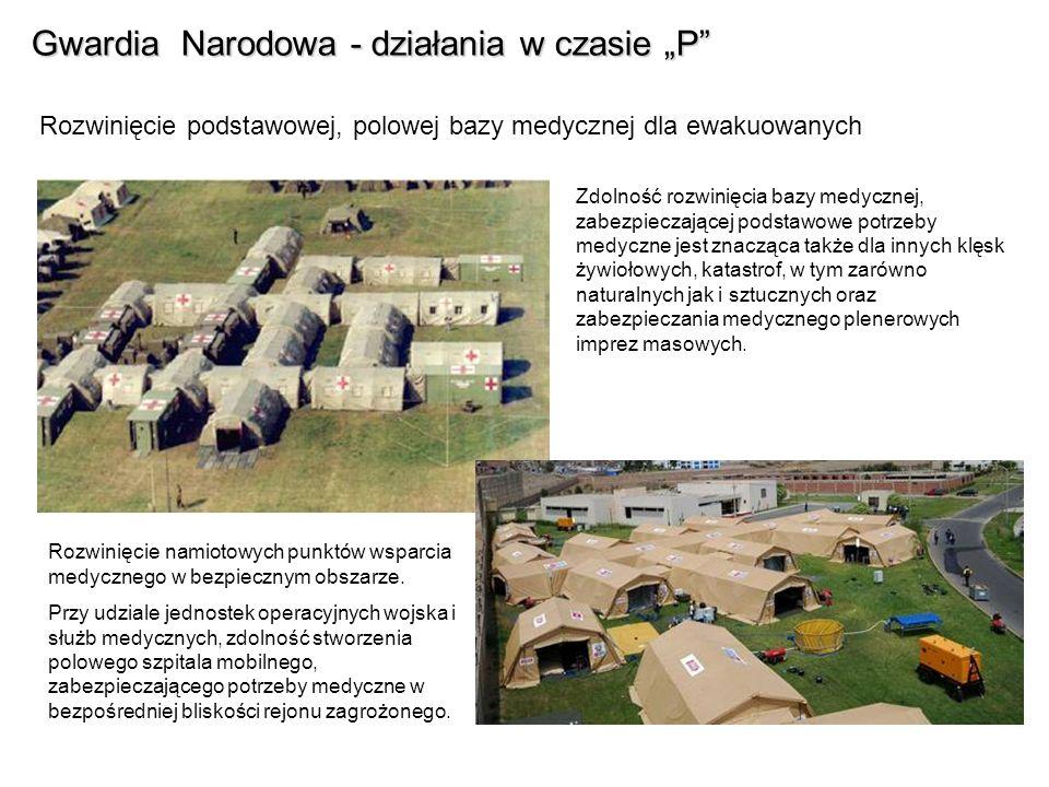 Gwardia Narodowa - działania w czasie P Rozwinięcie podstawowej, polowej bazy sanitarnej i socjalnej dla ewakuowanych Wykorzystanie kuchni polowych i kantyn namiotowych – stołówek dla zabezpieczenia żywnościowego ewakuowanych.