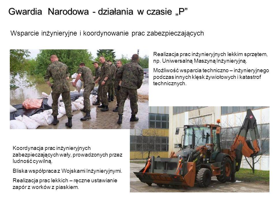 Gwardia Narodowa - działania w czasie P Wsparcie zaopatrzeniowe i medyczne dla odizolowanej ludności cywilnej W czasie powodzi w 1997 r.