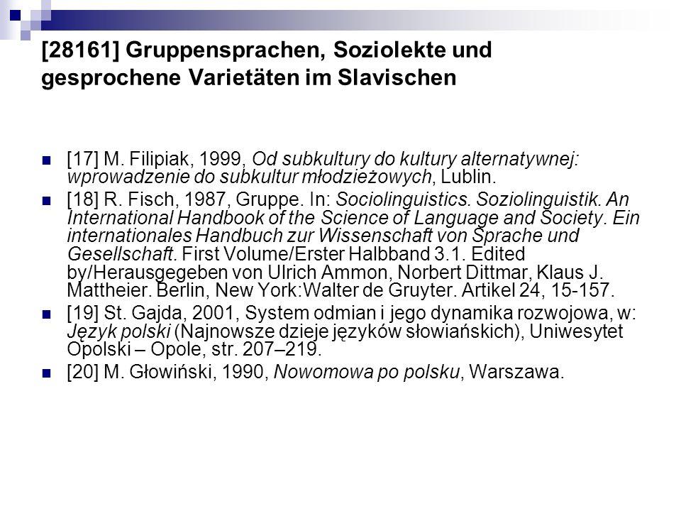 [28161] Gruppensprachen, Soziolekte und gesprochene Varietäten im Slavischen [17] M. Filipiak, 1999, Od subkultury do kultury alternatywnej: wprowadze