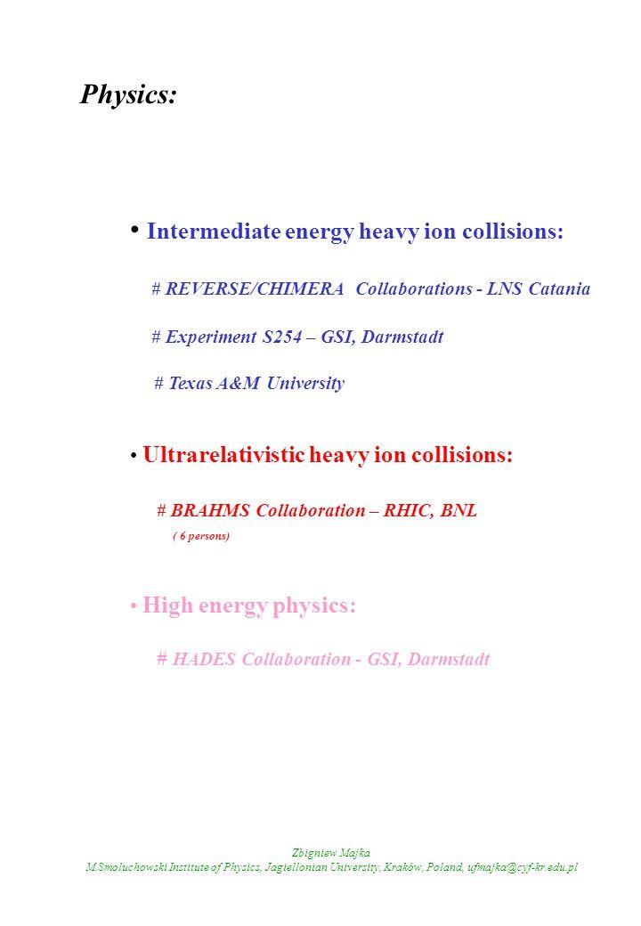 Zbigniew Majka M.Smoluchowski Institute of Physics, Jagiellonian University, Kraków, Poland, ufmajka@cyf-kr.edu.pl Physics: Intermediate energy heavy