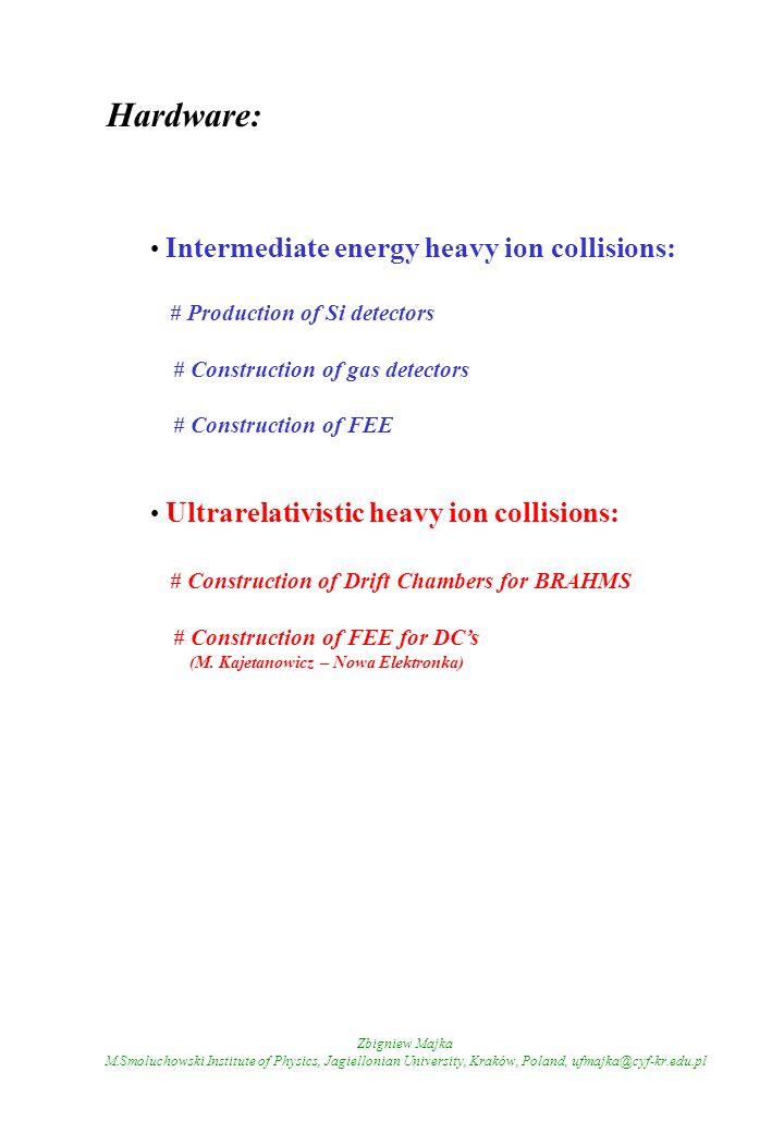 Zbigniew Majka M.Smoluchowski Institute of Physics, Jagiellonian University, Kraków, Poland, ufmajka@cyf-kr.edu.pl Hardware: Intermediate energy heavy