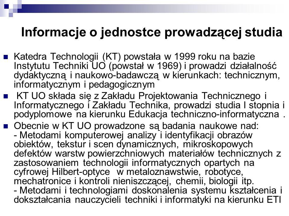 Informacje o jednostce prowadzącej studia Katedra Technologii (KT) powstała w 1999 roku na bazie Instytutu Techniki UO (powstał w 1969) i prowadzi dzi