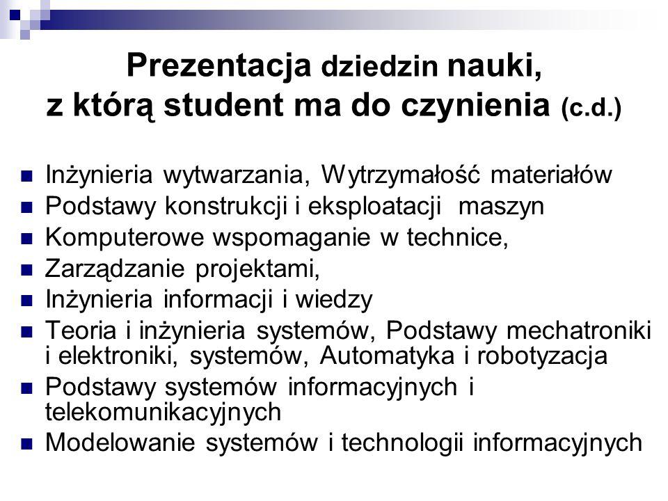 Prezentacja dziedzin nauki, z którą student ma do czynienia (c.d.) Inżynieria wytwarzania, Wytrzymałość materiałów Podstawy konstrukcji i eksploatacji