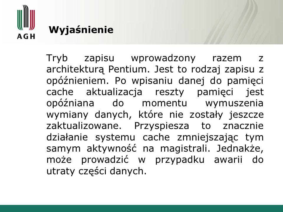 Wyjaśnienie Tryb zapisu wprowadzony razem z architekturą Pentium. Jest to rodzaj zapisu z opóźnieniem. Po wpisaniu danej do pamięci cache aktualizacja