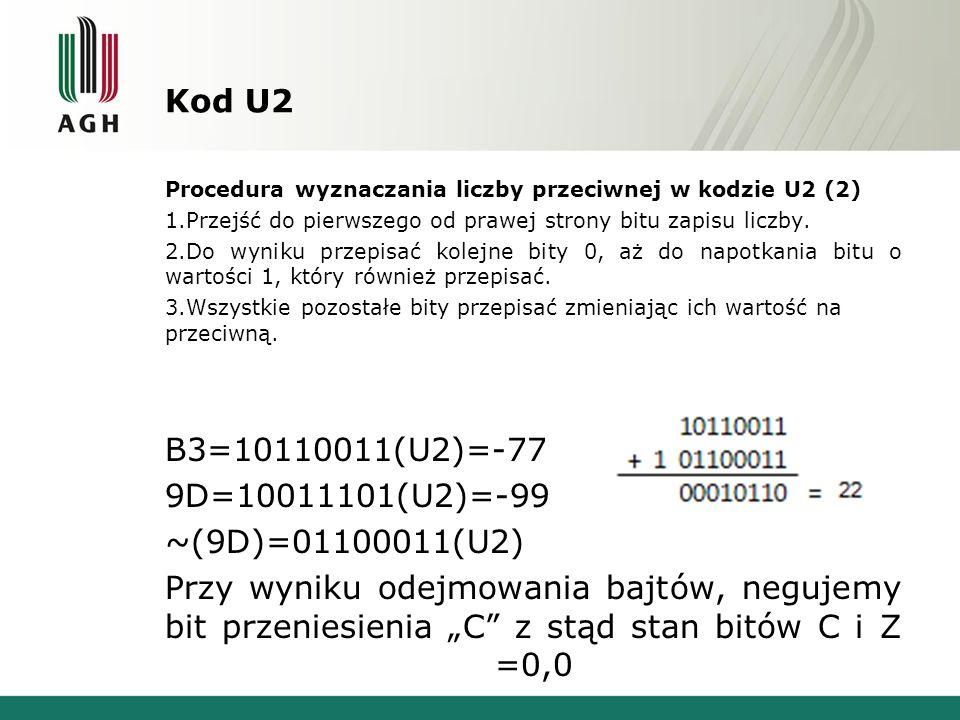 Kod U2 Procedura wyznaczania liczby przeciwnej w kodzie U2 (2) 1.Przejść do pierwszego od prawej strony bitu zapisu liczby. 2.Do wyniku przepisać kole