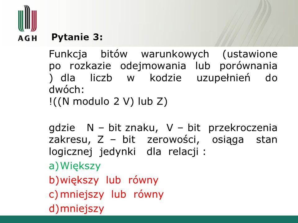 Pytanie 3: Funkcja bitów warunkowych (ustawione po rozkazie odejmowania lub porównania ) dla liczb w kodzie uzupełnień do dwóch: !((N modulo 2 V) lub
