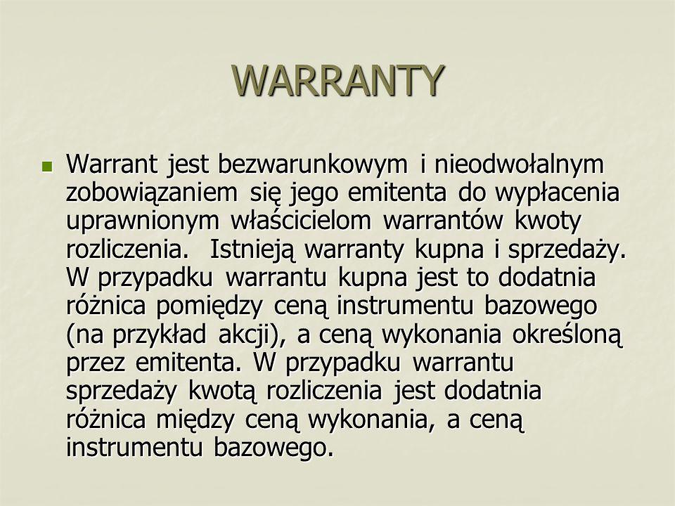 WARRANTY Warrant jest bezwarunkowym i nieodwołalnym zobowiązaniem się jego emitenta do wypłacenia uprawnionym właścicielom warrantów kwoty rozliczenia