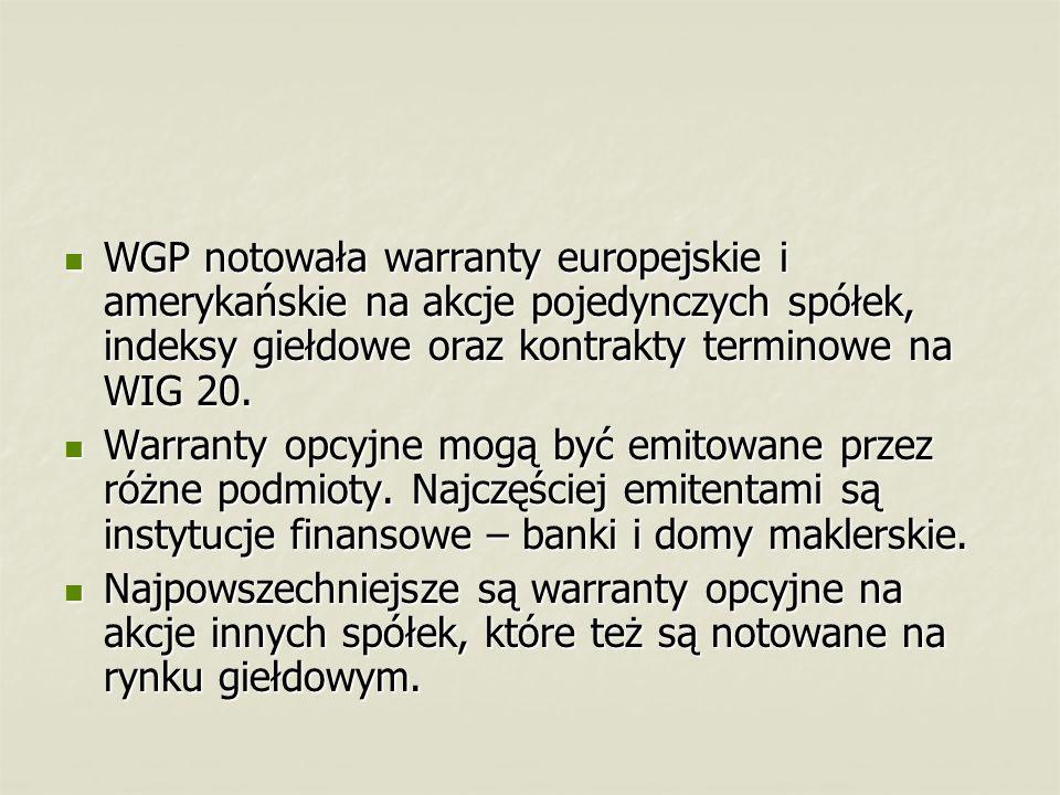 WGP notowała warranty europejskie i amerykańskie na akcje pojedynczych spółek, indeksy giełdowe oraz kontrakty terminowe na WIG 20. WGP notowała warra