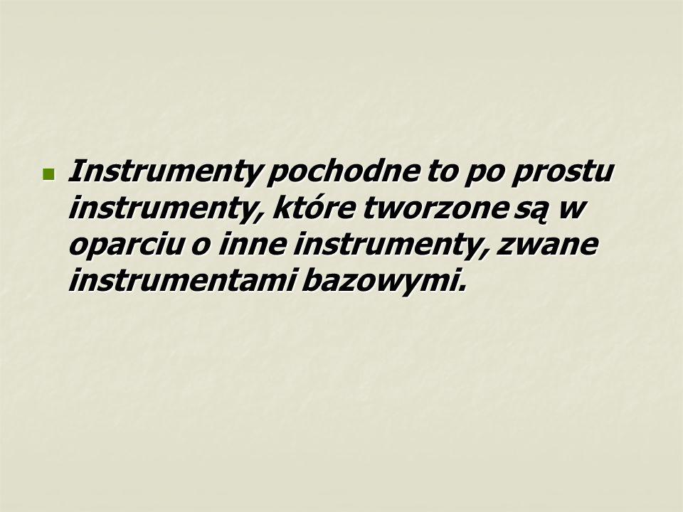 Instrumenty pochodne to po prostu instrumenty, które tworzone są w oparciu o inne instrumenty, zwane instrumentami bazowymi. Instrumenty pochodne to p