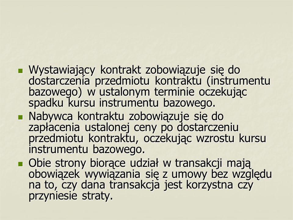 W Polsce najbardziej popularne są kontrakty terminowe na indeksy, a w szczególności na indeks WIG20.