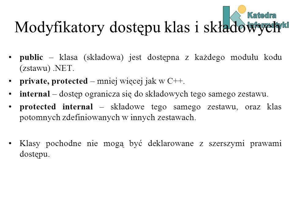 Modyfikatory klas static – klasa zawiera wyłącznie składowe statyczne.