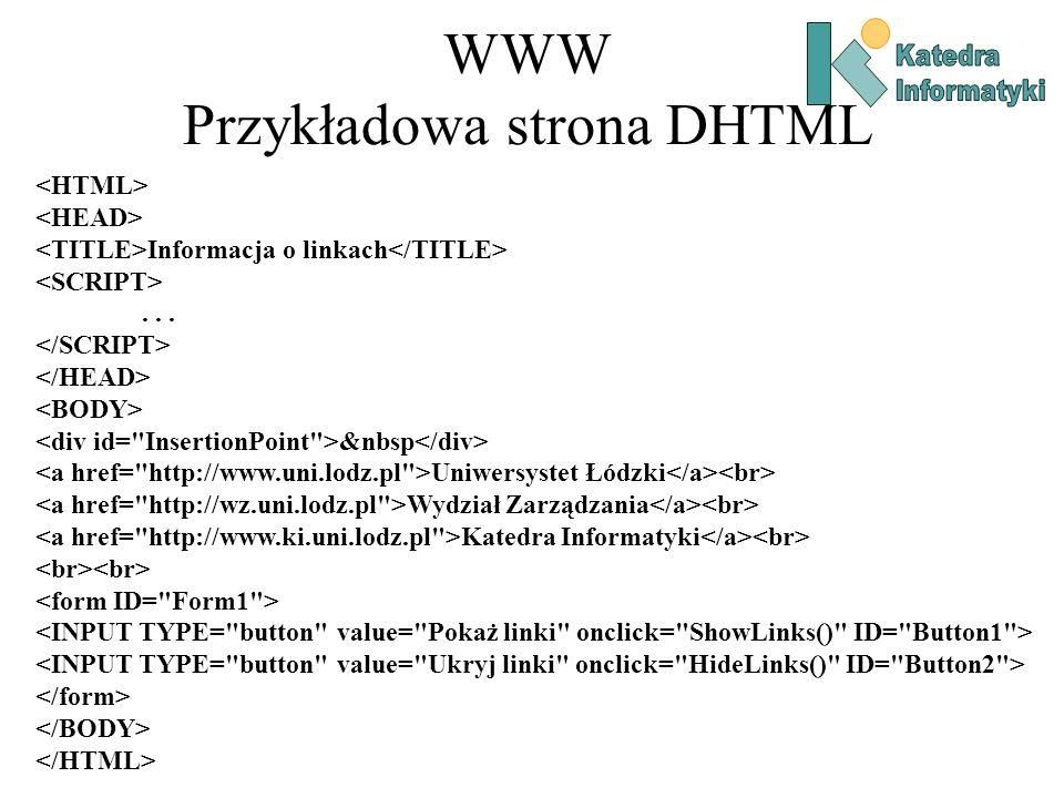 WWW Przykładowa strona DHTML Informacja o linkach...