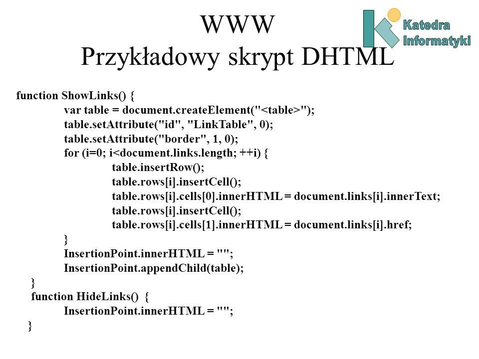 WWW Przykładowy skrypt DHTML function ShowLinks() { var table = document.createElement( ); table.setAttribute( id , LinkTable , 0); table.setAttribute( border , 1, 0); for (i=0; i<document.links.length; ++i) { table.insertRow(); table.rows[i].insertCell(); table.rows[i].cells[0].innerHTML = document.links[i].innerText; table.rows[i].insertCell(); table.rows[i].cells[1].innerHTML = document.links[i].href; } InsertionPoint.innerHTML = ; InsertionPoint.appendChild(table); } function HideLinks() { InsertionPoint.innerHTML = ; }