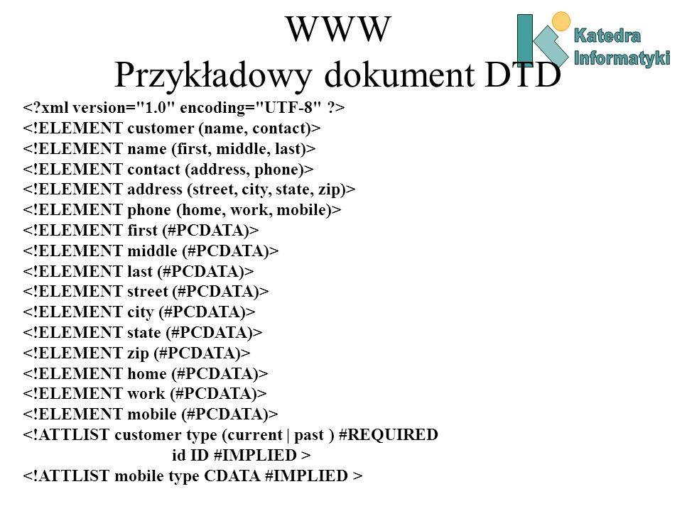 WWW Przykładowy dokument DTD <!ATTLIST customer type (current | past ) #REQUIRED id ID #IMPLIED >
