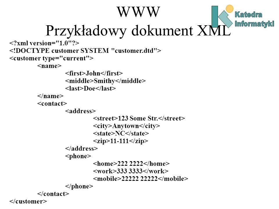 WWW Przykładowy dokument XML John Smithy Doe 123 Some Str.