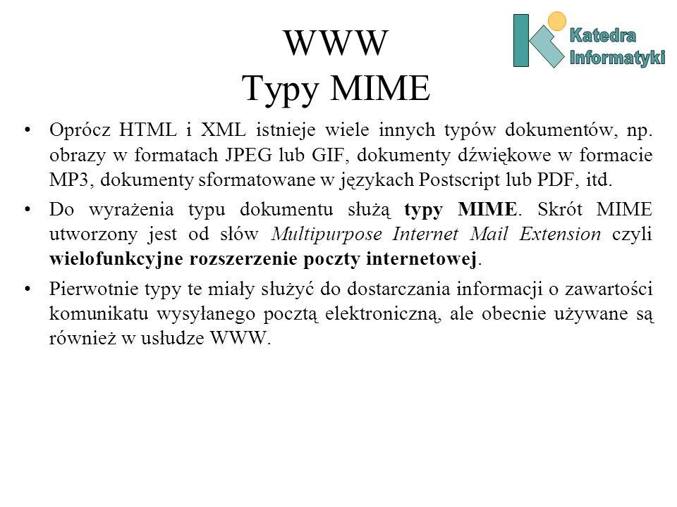 WWW Typy MIME Oprócz HTML i XML istnieje wiele innych typów dokumentów, np.