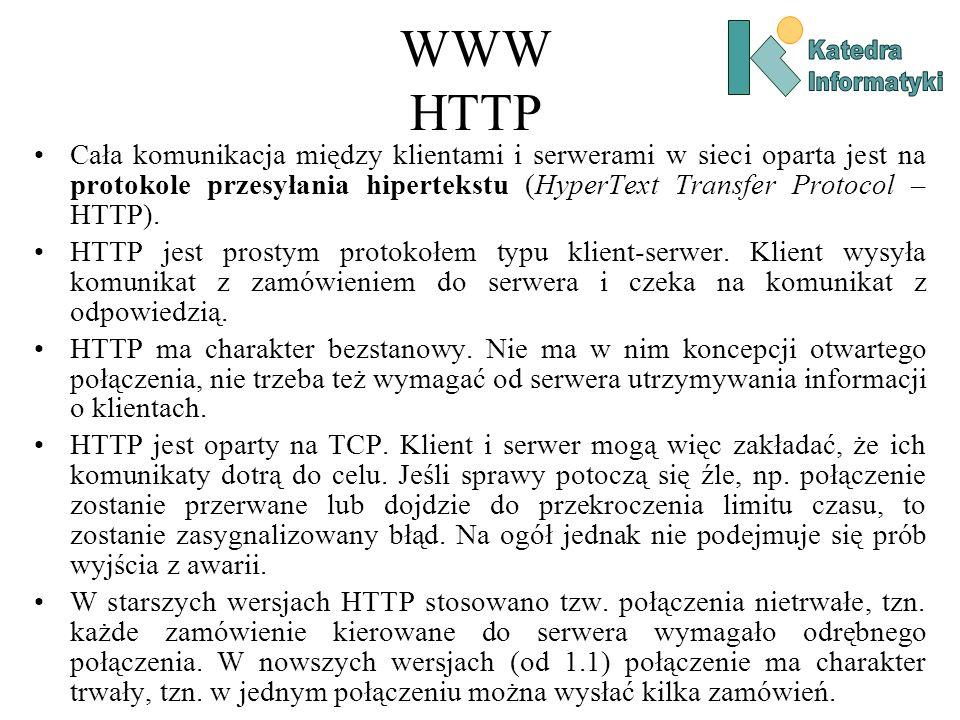 WWW HTTP Cała komunikacja między klientami i serwerami w sieci oparta jest na protokole przesyłania hipertekstu (HyperText Transfer Protocol – HTTP).