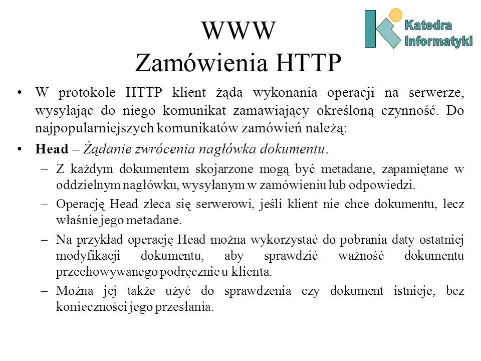 WWW Zamówienia HTTP W protokole HTTP klient żąda wykonania operacji na serwerze, wysyłając do niego komunikat zamawiający określoną czynność.