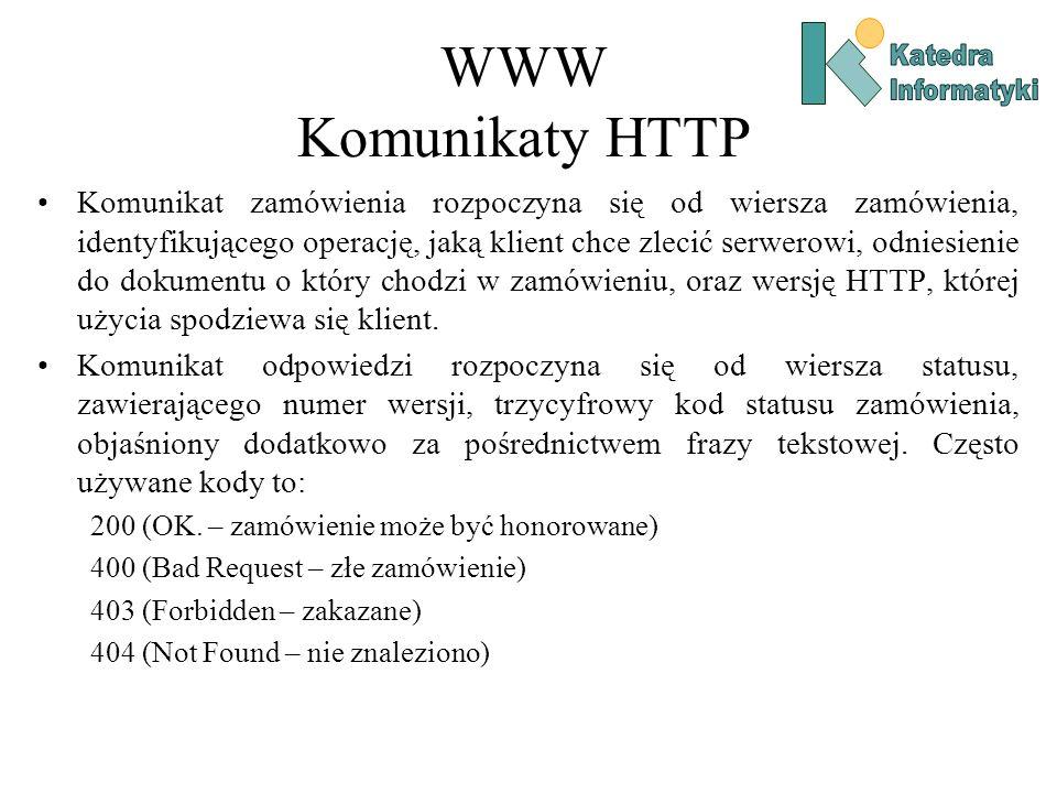 WWW Komunikaty HTTP Komunikat zamówienia rozpoczyna się od wiersza zamówienia, identyfikującego operację, jaką klient chce zlecić serwerowi, odniesienie do dokumentu o który chodzi w zamówieniu, oraz wersję HTTP, której użycia spodziewa się klient.