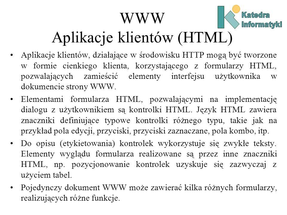 WWW Aplikacje klientów (HTML) Aplikacje klientów, działające w środowisku HTTP mogą być tworzone w formie cienkiego klienta, korzystającego z formularzy HTML, pozwalających zamieścić elementy interfejsu użytkownika w dokumencie strony WWW.
