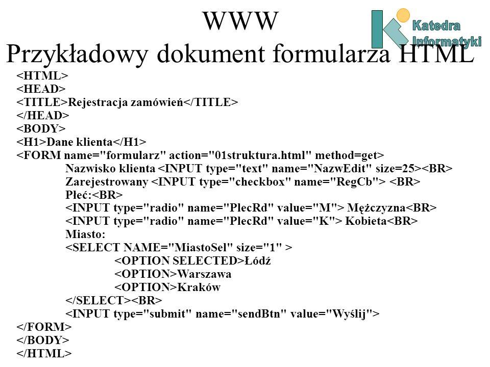 WWW Przykładowy dokument formularza HTML Rejestracja zamówień Dane klienta Nazwisko klienta Zarejestrowany Płeć: Mężczyzna Kobieta Miasto: Łódź Warszawa Kraków