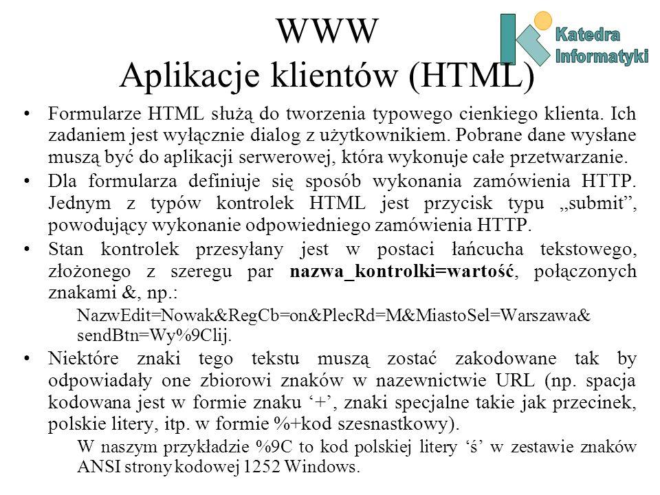 WWW Aplikacje klientów (HTML) Formularze HTML służą do tworzenia typowego cienkiego klienta.