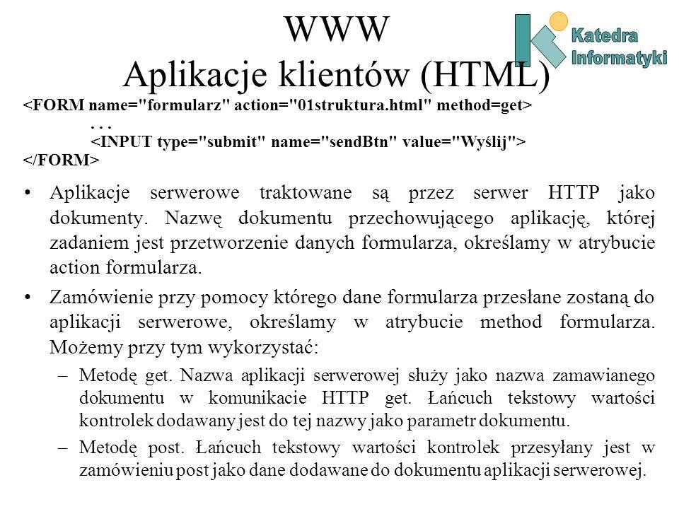 WWW Aplikacje klientów (HTML) Aplikacje serwerowe traktowane są przez serwer HTTP jako dokumenty.
