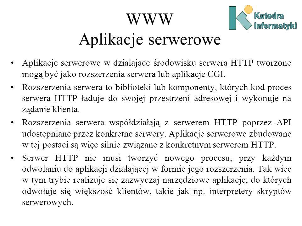 WWW Aplikacje serwerowe Aplikacje serwerowe w działające środowisku serwera HTTP tworzone mogą być jako rozszerzenia serwera lub aplikacje CGI.
