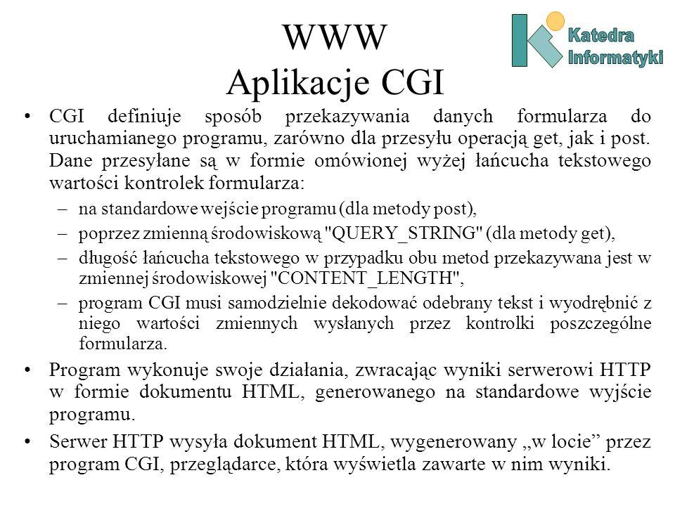 WWW Aplikacje CGI CGI definiuje sposób przekazywania danych formularza do uruchamianego programu, zarówno dla przesyłu operacją get, jak i post.