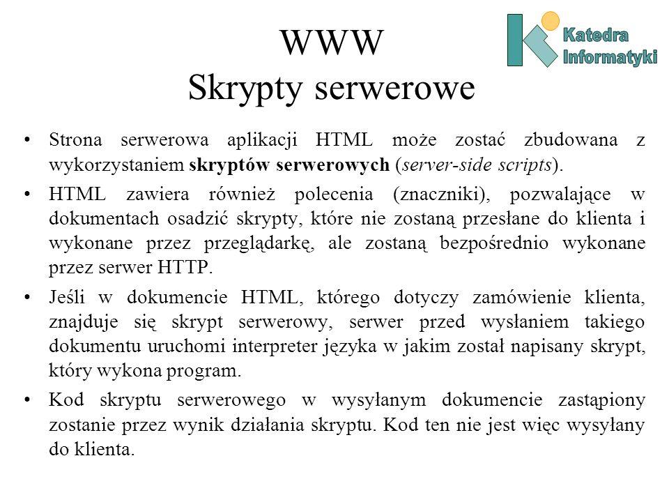 WWW Skrypty serwerowe Strona serwerowa aplikacji HTML może zostać zbudowana z wykorzystaniem skryptów serwerowych (server-side scripts).
